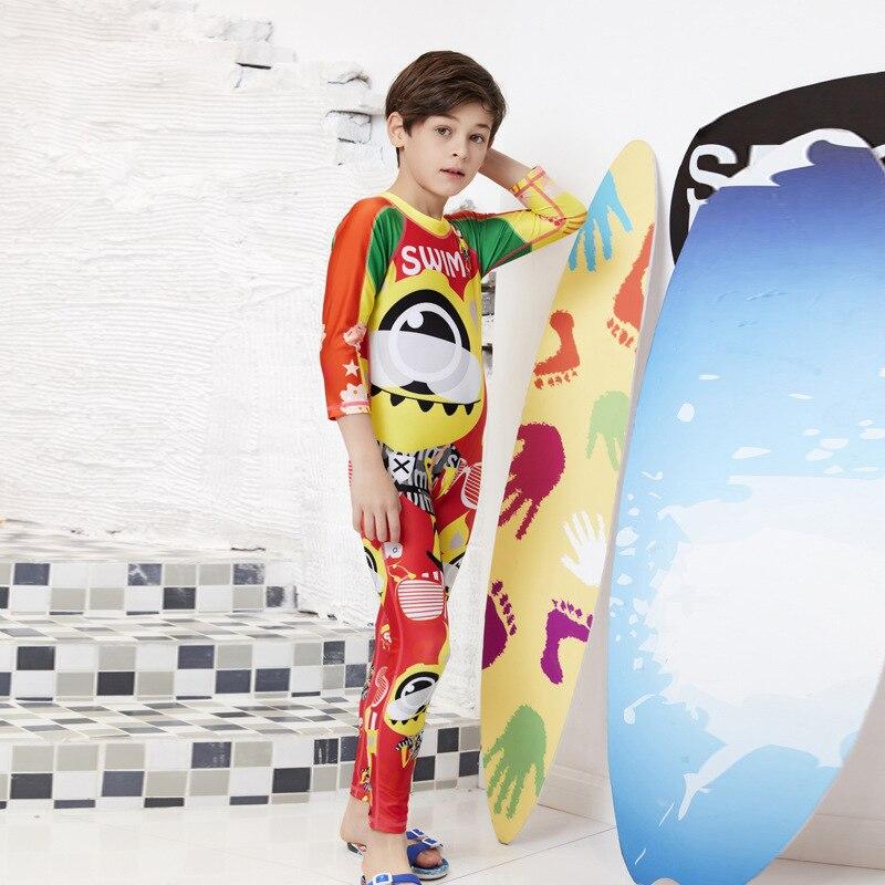 2019 Cartoon Boxer KID'S Swimwear One-piece Warm Swimsuit Set BOY'S Big Boy Long Sleeve GIRL'S Swimwear
