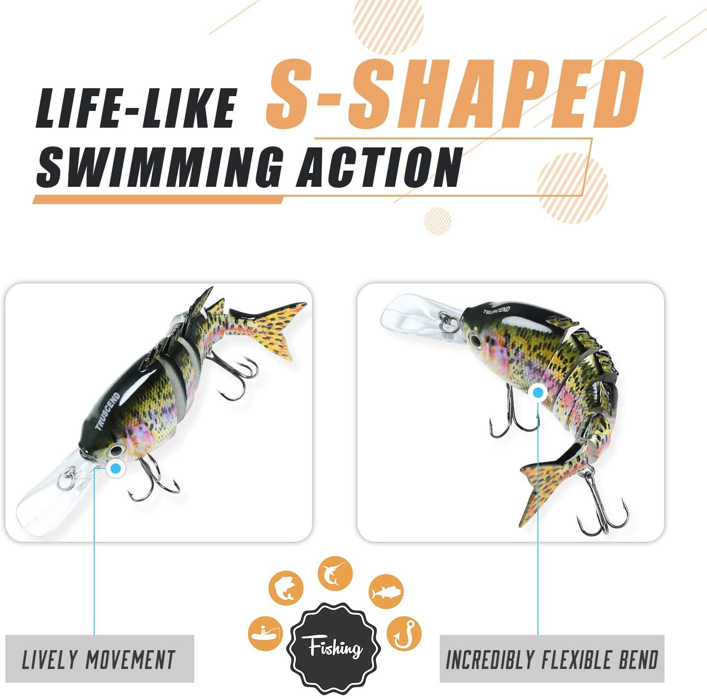 TRUSCEND 3× 10cm Wobblers Fishing Lures 6 Jointed Swimbait Hard Artificial Bait