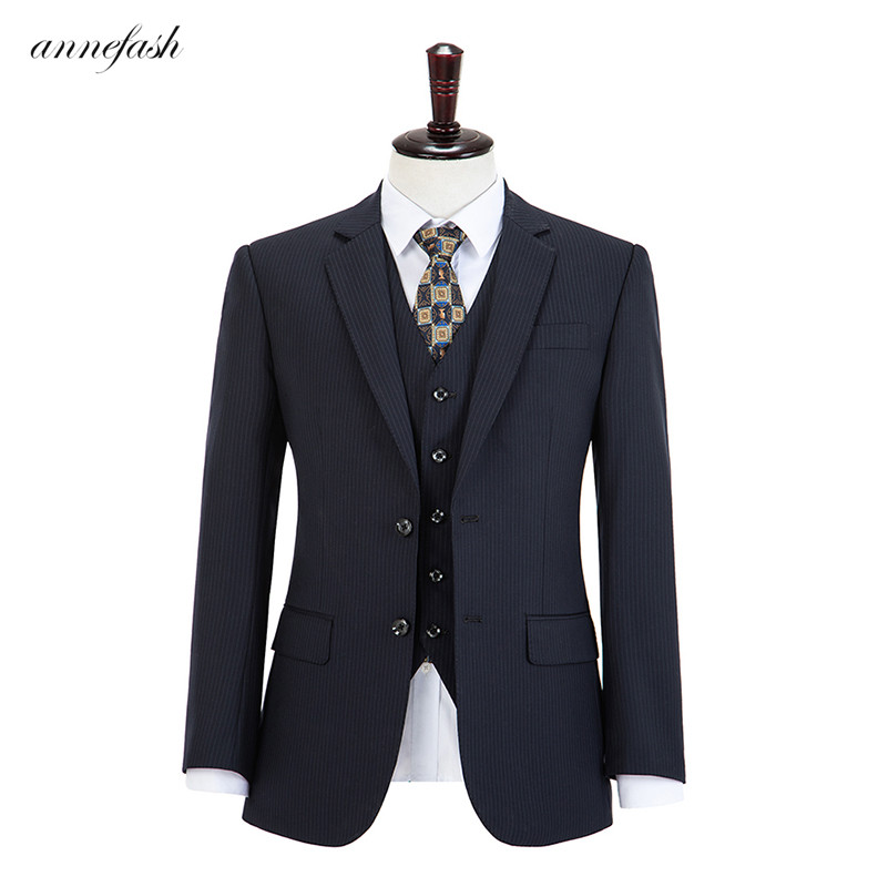 Wool Woolen  Navy Strips  Plaid Tweed Men Suit Custom Made Retro Men Wedding Blazer Suit 3pcs