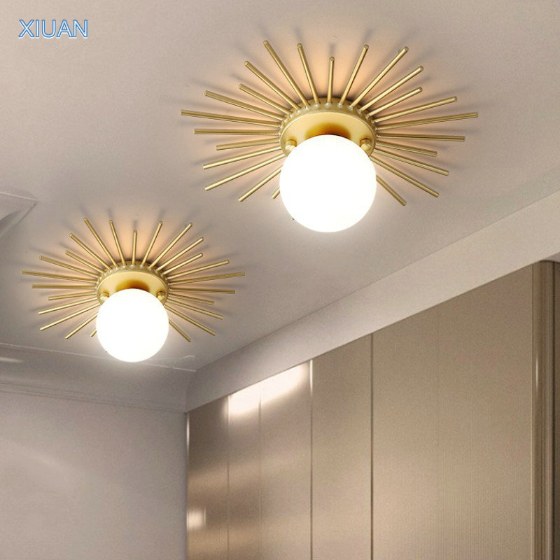 Nordic Decorations Hallway Corridor Ceiling Lamp LED <font><b>G9</b></font> Glass Ball Lampshade Sun Shape Surface Mount Ceiling Lights Fixtures image