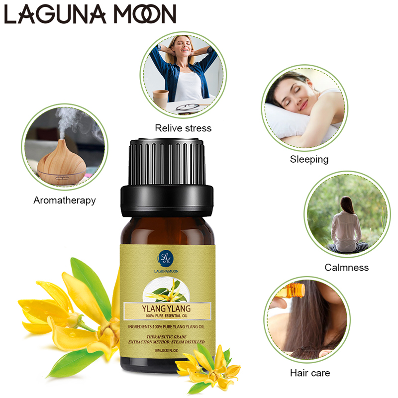 Lagunamoon  Ylang 10ML Pure Essential Oil Massage Diffuser Aroma Rosemary Clary Sage Ginger Oil Hair Care
