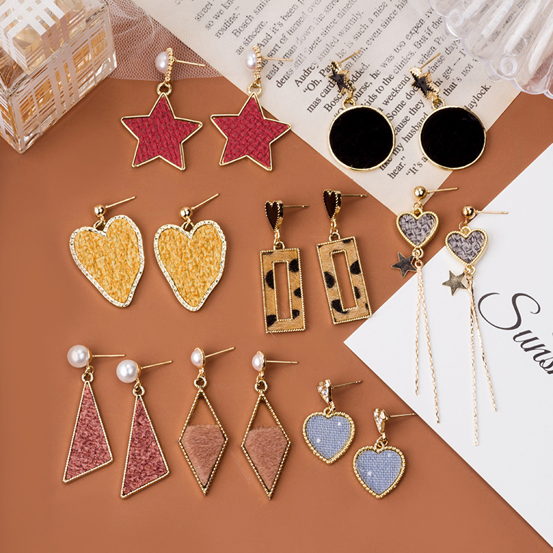 New Autumn Fashion Sexy Leopard Geometric Square Heart Drop Earrings For Women Vintage Statement Dangle Earrings Jewelry