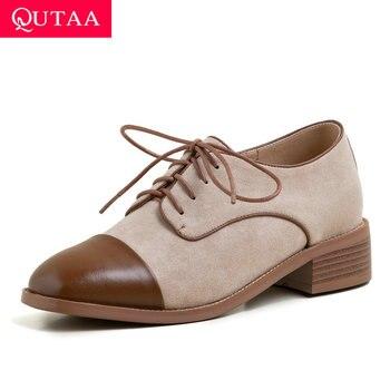 QUTAA 2020 Patchwork Flock Cow Leather Single Shoes Square Heel Lace Up Ladies Pumps Retro Square Toe Women Shoes Size 34-39