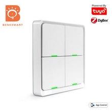 Benexmart Tuya Zigbee Scene Switch Wireless Light Switch 4 Gangs On Off Wall Push Button Compatible with Smartthing Smartlife