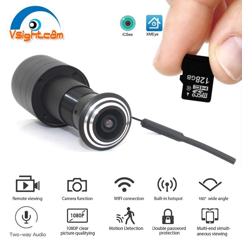 DC5V Wifi kamera IP wizjer otwór 1080P HD Onvif 1.66mm obiektyw typu rybie oko P2P wizjer bezpieczeństwo w domu kamera monitorująca CCTV iCSee