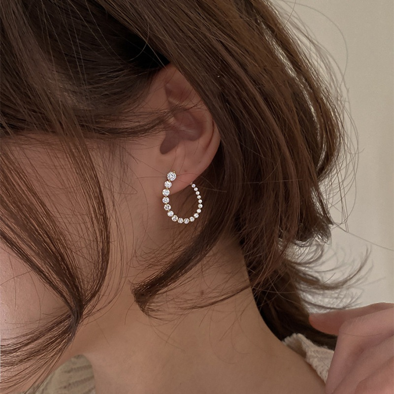 MENGJIQIAO Korean Elegant Shiny Micro Pave Zircon U Shaper Stud Earrings For Women Girls Elegant Cute Brincos Party Gifts