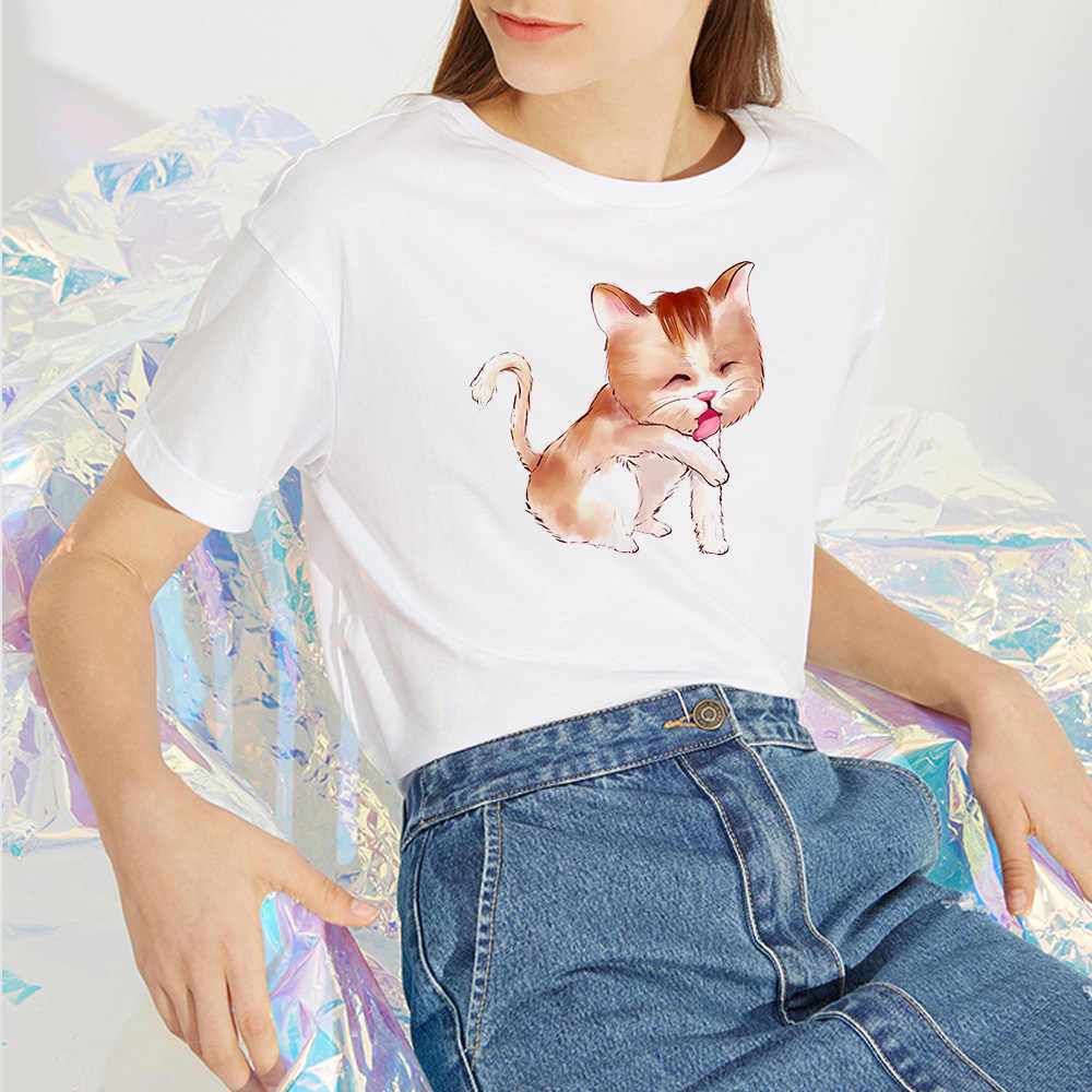 Nuovo Più Il Formato T-Shirt S-3XL Adorabile Gatto Lettering Delle Donne di Stampa Del Manicotto Del Bicchierino di Estate Della Camicia Delle Donne del Cotone casual T Shirt Rotonda collo