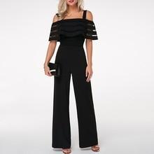 Plus Size Long Wide Leg Romper Overlay Embellished Black Strappy Cold Shoulder Jumpsuit Loose Solid Jumpsuit cami cold shoulder loose knitwear page 9