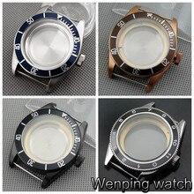 41mm corgeut safira vidro cerâmica moldura de aço inoxidável caso relógio ajuste miyota 8205/8215/82 series, eta 2836, mingzhu dg2813