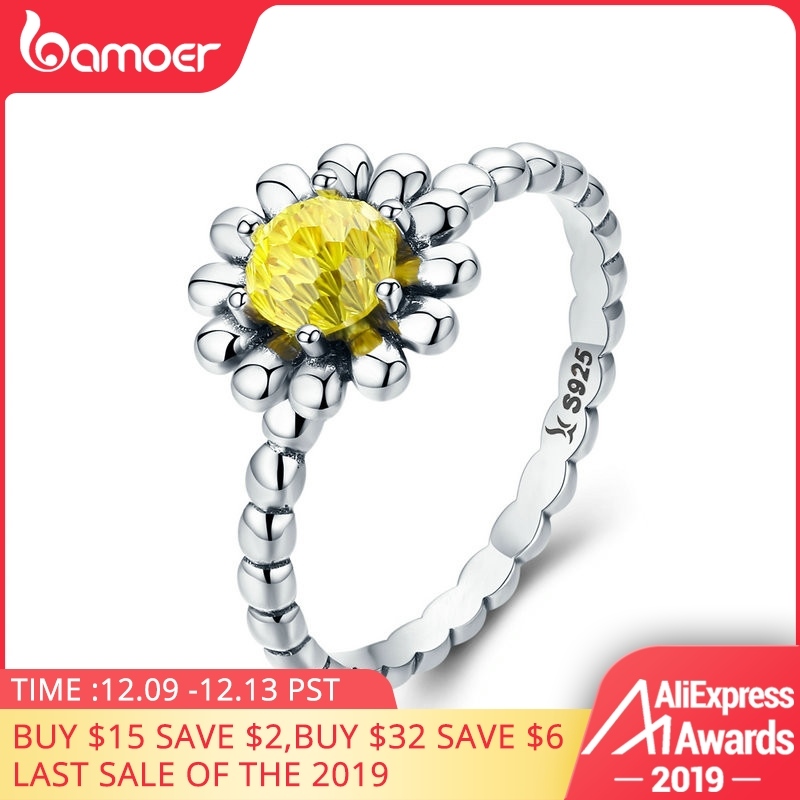 BAMOER Genuine 100% 925 Sterling Silver Ring With Daisy Cubic Zirconia For Women Wedding Jewelry SCR238