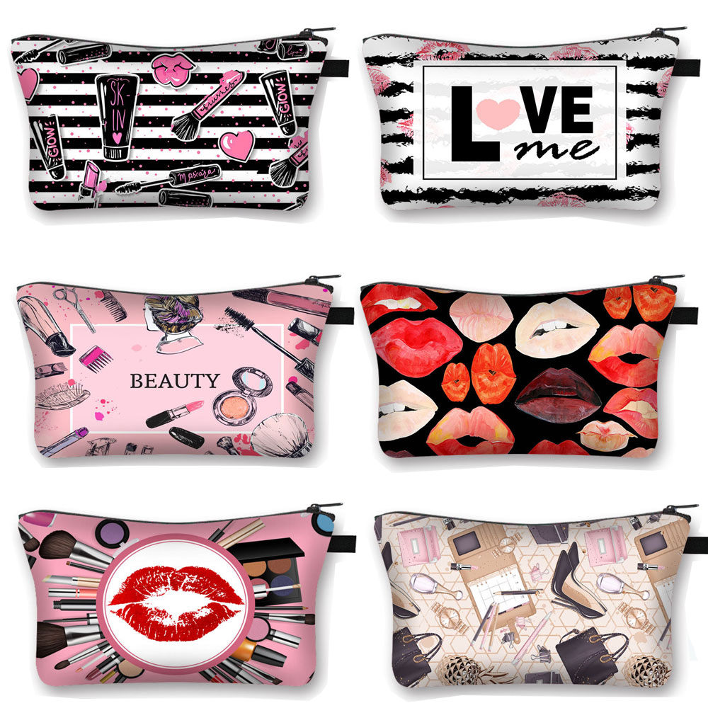 Red Lips Print Cosmetic Bag Women Fashion Makeup Bag Rolling Blunt Ladies Cosmetic Case Organizers Lipstick Holder Beauty Bags