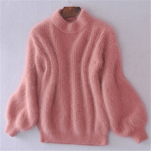 Winter Spring Fashion Casual Thickened Warm Turtleneck Mohair Female Sweater Lantern Sleeve Casual Solid Slim Pullover