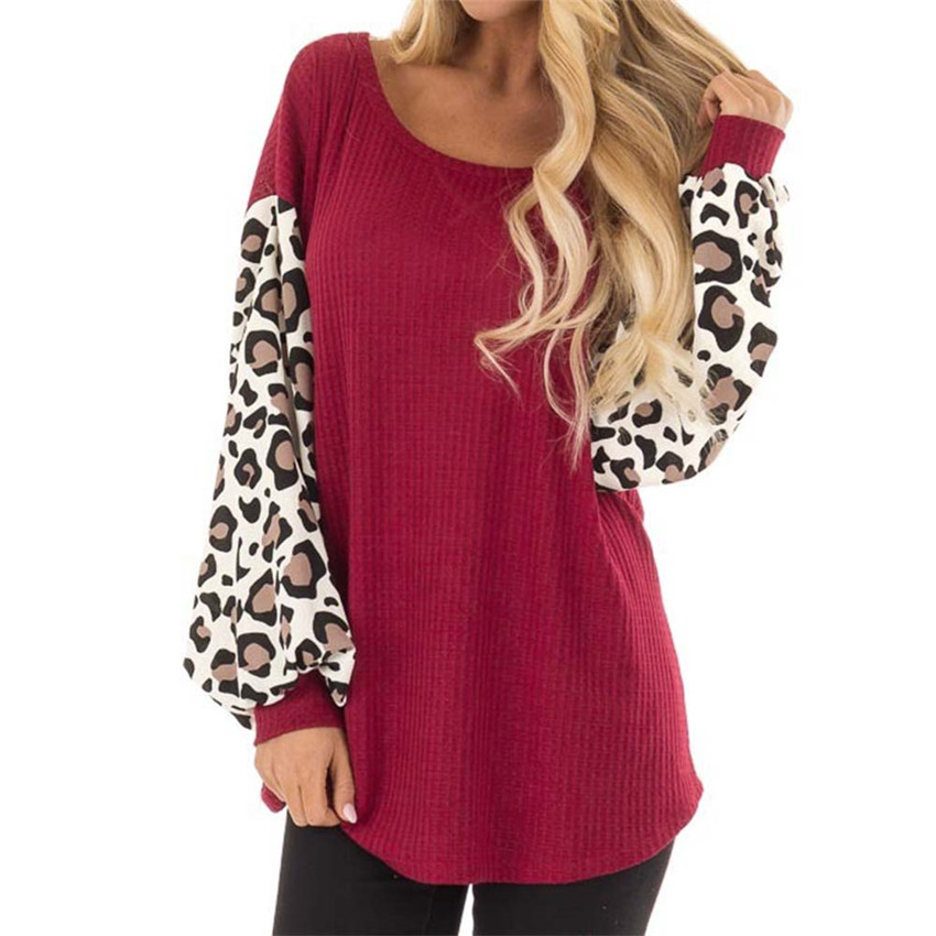 Women Sweater Autumn Winter Knitted Sweaters 2019 Leopard Sleeve Top Casual Loose Sweater 3XL Long Sleeve Top Lady Streetwear