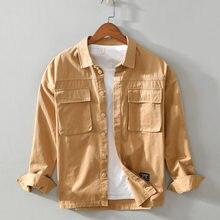 Рубашка мужская с карманами Повседневная Свободная кофта множеством
