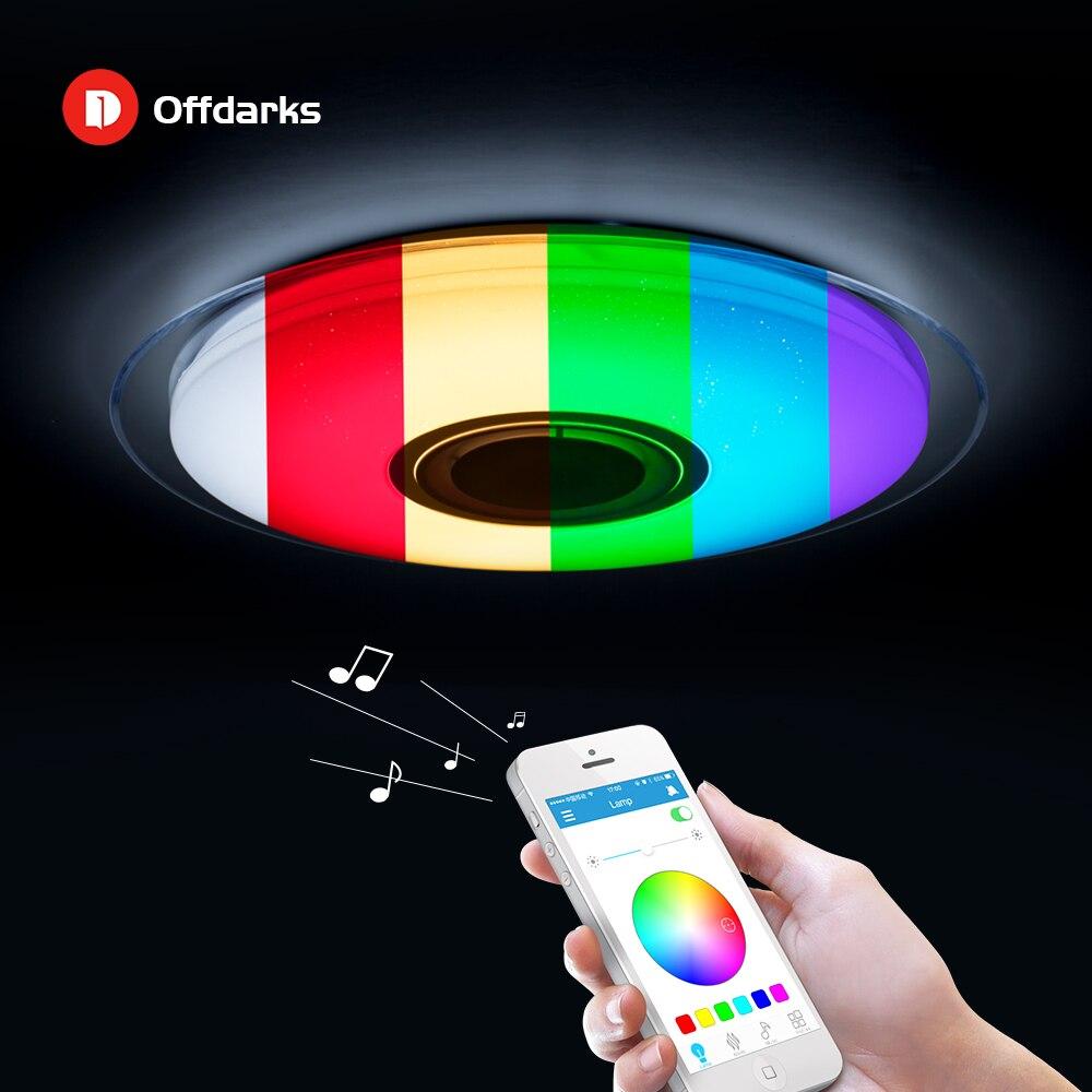 현대 led 천장 조명 rgb 디 밍이 가능한 25 w 36 w 52 w app 원격 제어 블루투스 음악 빛 로비 침실 천장 조명