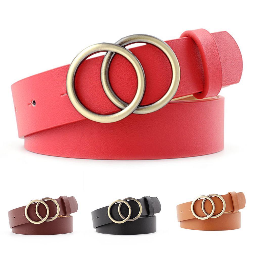 Casual Adjustable Leather Belts For Women Men Metal Double Round Buckle Harness Belt Waist Belt Women Belt Waistband Unisex