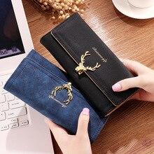 Womens wallets womens long 30% deer head 2019 new fashion cool style matte card