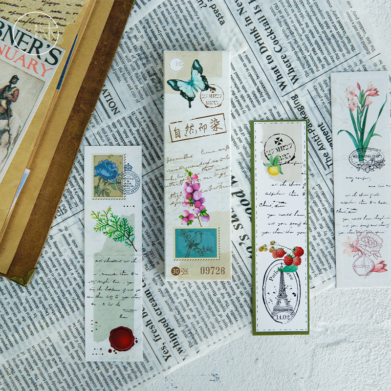 30 Pcs/Set Vintage Nature Plant Paper Bookmark DIY Book Holder Message Card Stationery Christmas Gift
