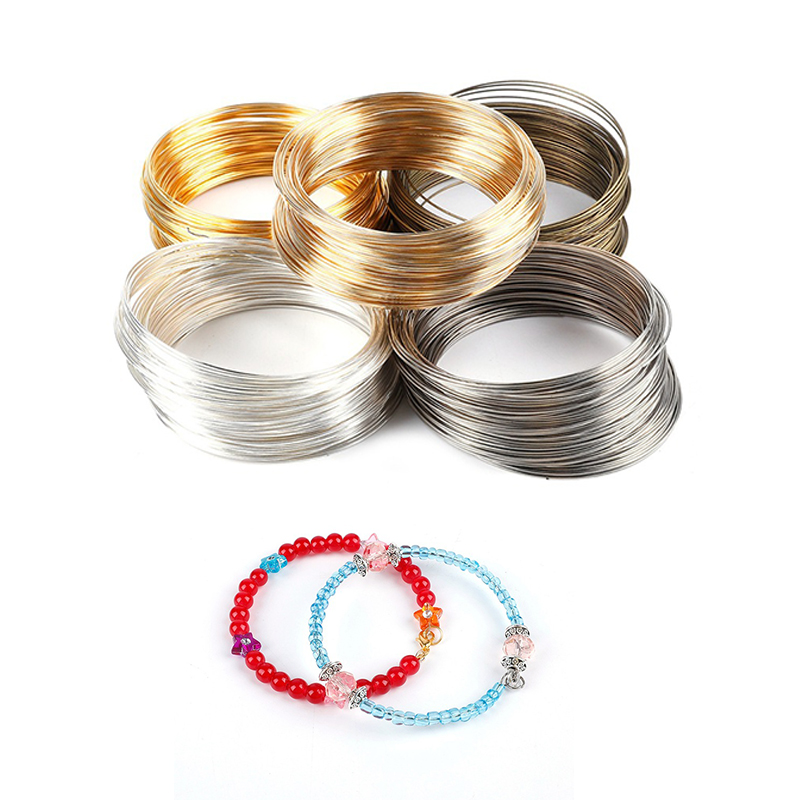 100 Loops 0.6mm Memoried Beading Flexible Wire Steel Line For DIY Multi-layer Bangle Bracelet Making Jewelry Findings