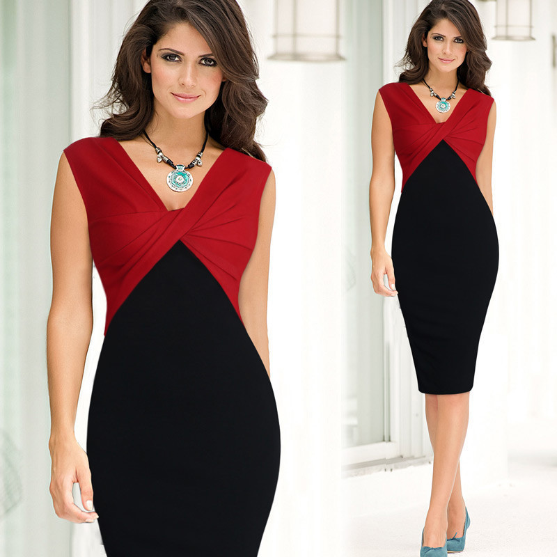 BacklakeGirls New Fashion Contrast Color Sexy V Neck Sleeveless Cocktail Dresses Women Knee Length Formal Dresse Vestido Fiesta