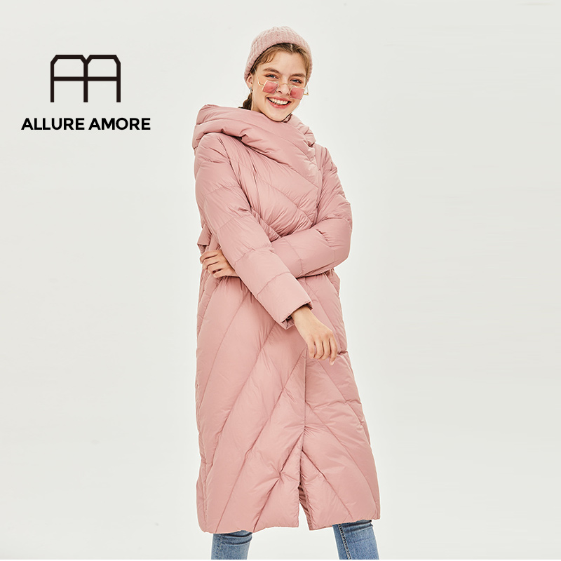 Allure Amore Women Winter Jacket Windproof Coat With Stand-Up Collar And Hood Women Parka Made Of Biopuh Will Protect From Cold
