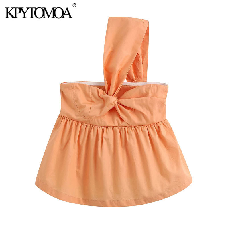 KPYTOMOA Women 2020 Sweet Fashion One Shoulder Bow Tid Blouses Vintage Sleeveless Ruffled Female Shirts Blusas Chic Tops