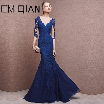 Mother Of The Bride Dresses Mermaid Half Sleeves Tulle Appliques Long Wedding Party Dresses Mother Dresses For Wedding 3