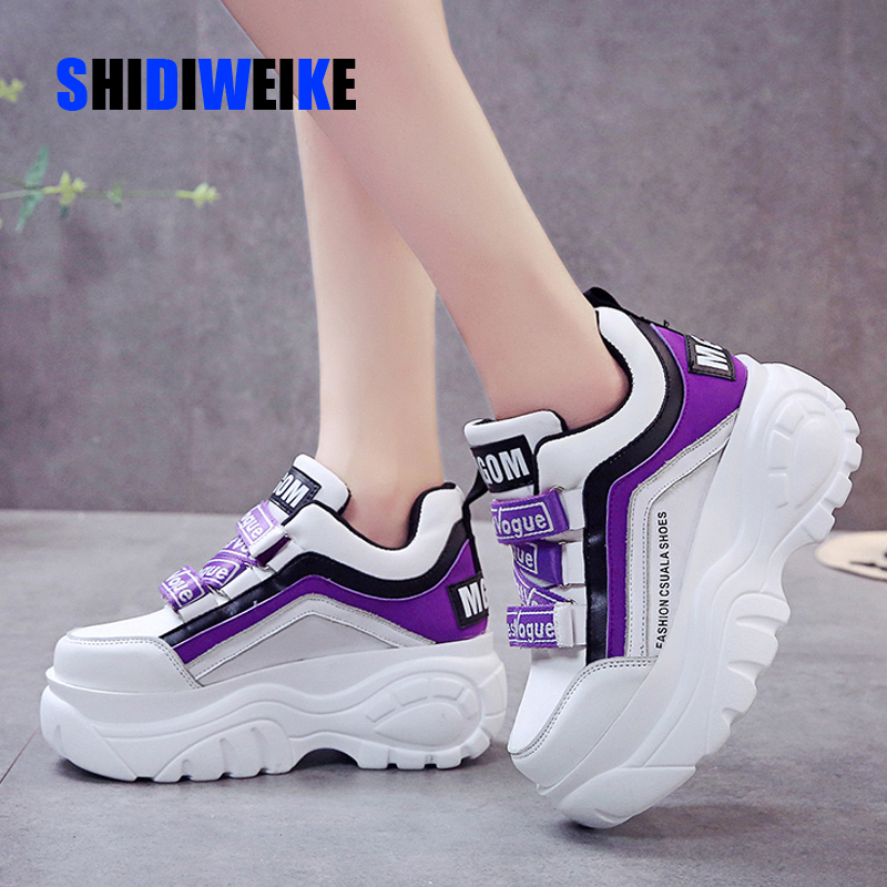 Thick Bottom Chunky Sneakers Women White Black Patchwork High Platform Shoes Woman Casual Autumn Winter Wedges Footwear G788