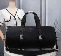 Männer schwarz nylon leinwand wasserdichte reisetasche einfache freizeit gepäck sport im freien große kapazität klassische handtasche
