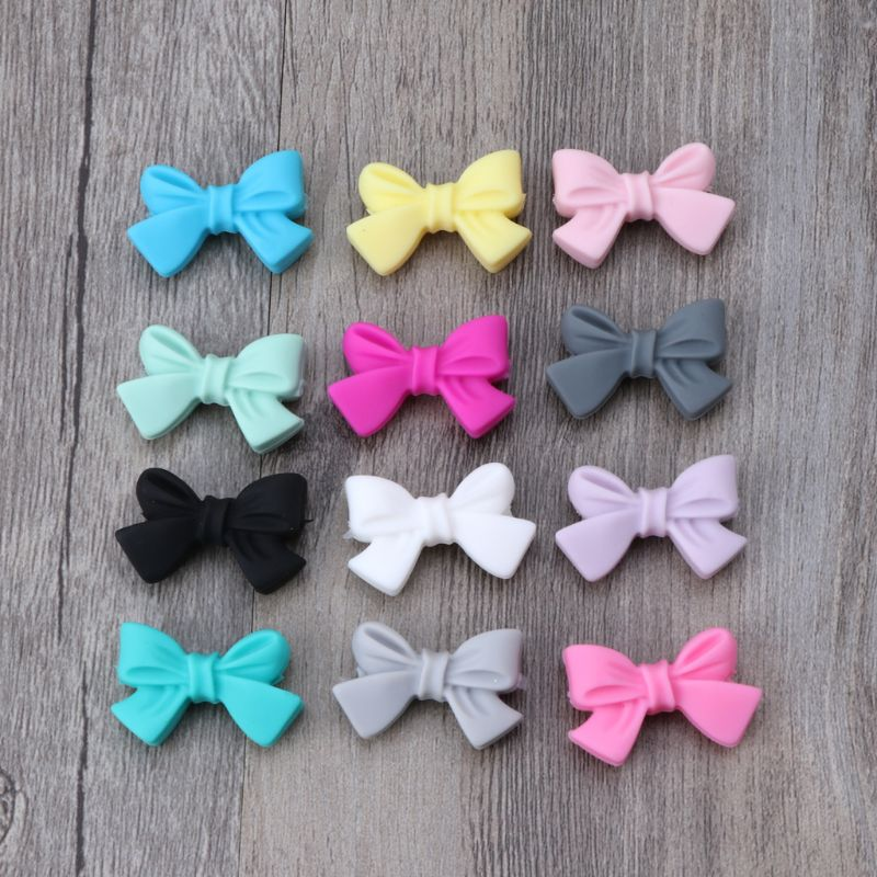5pcs Mini Silicone Bow Small Tie Beads For Teething Holes DIY Beads BPA Free Silicone Beads Baby Teether