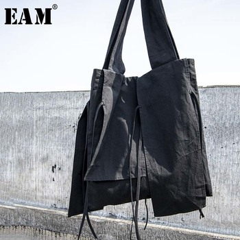 [EAM] Women New Black Tassels Split Joint Big Size Personality Accessories Fashion Tide All-match Spring Autumn 2020 1W259