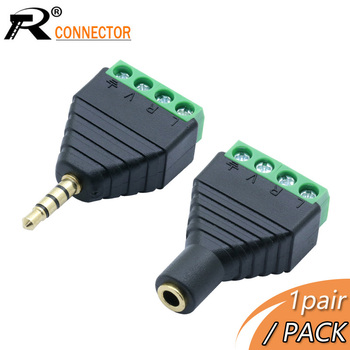 1pair/2pcsMale&Female Video AV Balun 3.5mm 4 Pole Stereo Male to Screw Terminal Jack female pin Block - discount item  15% OFF Electrical Equipment & Supplies