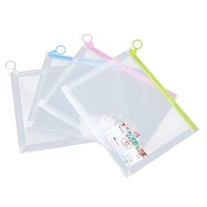 4 шт прозрачные пакеты для документов на молнии Цвет ed A4 Держатель для документов пластиковый чехол для хранения для школы офиса (случайный ...