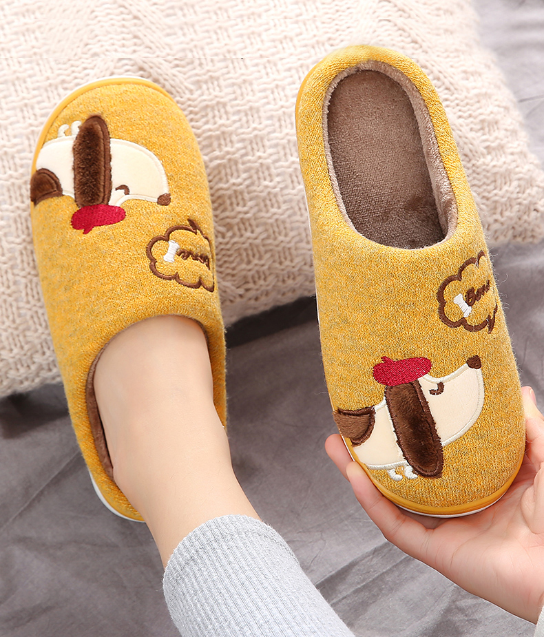 Fashion Winter Warm Fur Women Slippers Cartoon Dog Indoor Shoes Women Men Couples Soft Plush Puppy Home Slippers Zapatilla Mujer image