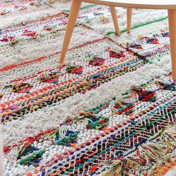 Alfombras grandes de algodón tejidas a mano para dormitorio tapiz de estilo...