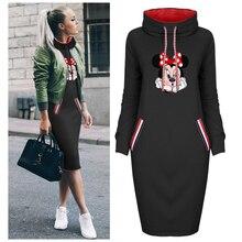 Autumn Thin Dress Women Cartoon Plus Size Minnie Cartoon Dresses Vintage Clothes Party Casual Women Black Dress