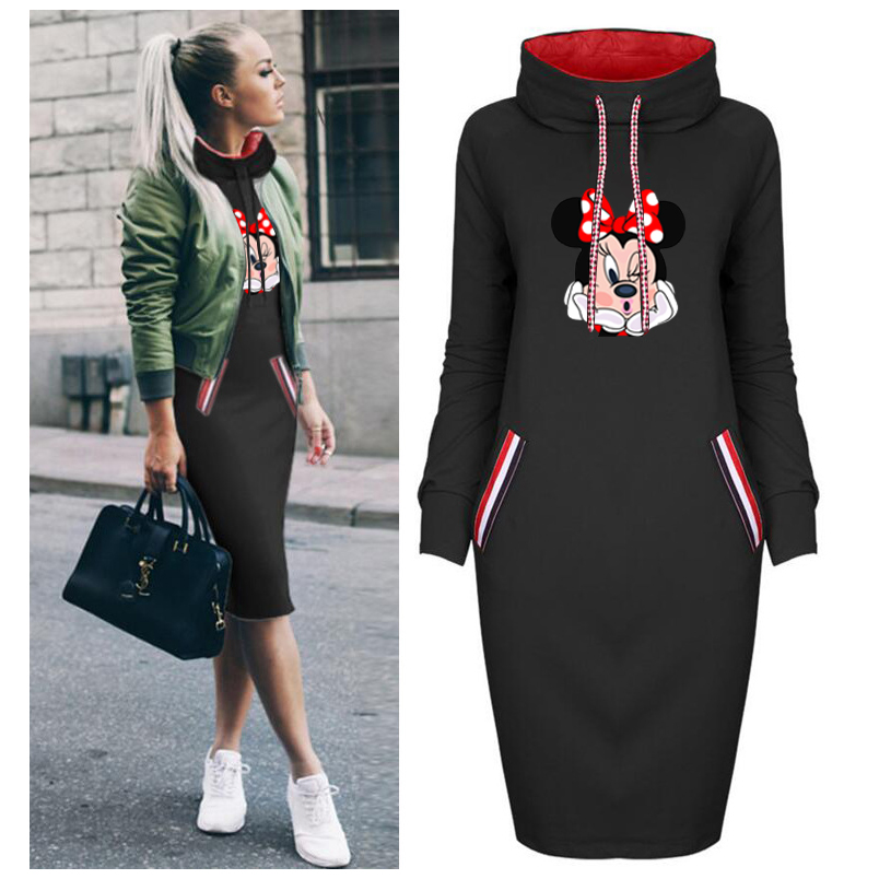 Spring Autumn Dress Women Plus Size Cartoon Minnie Print Dresses Vintage Bodycon Clothes Party Casual Woman Black Short Dress