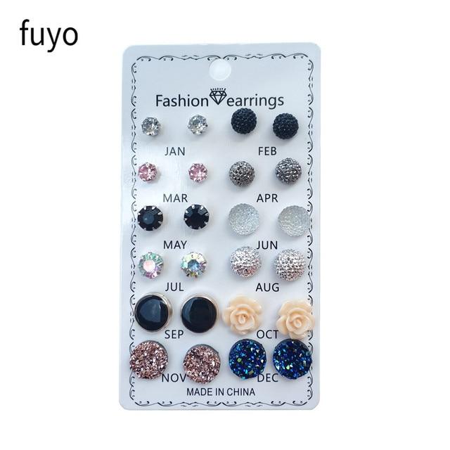12 pairs/set Crystal Fashion Earrings Set Women Jewelry Accessories Piercing Ball Stud Earring kit Bijouteria brincos New 2019 2
