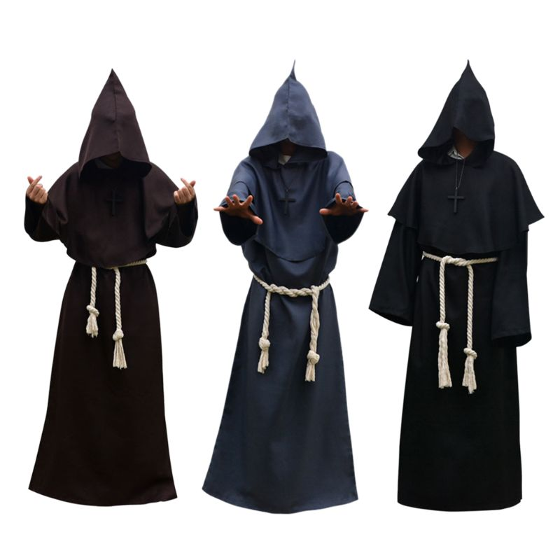 Unisex Halloween Robe Hooded Cloak Costume Cosplay Monk Suit Adult Role-playing Decoration Clothing