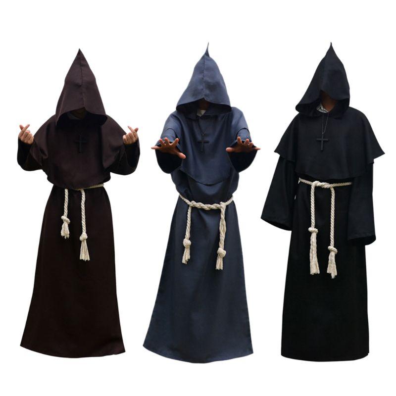 Unisex manto de halloween com capuz manto traje cosplay monge terno adulto rpg decoração roupas