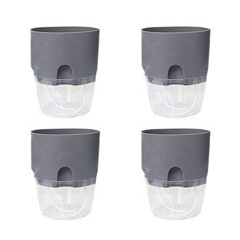 4Pcs 26.4 x 23.5 x 23.5cm 2 Tiers Creative Storing Water Self Watering Garden Planter Modern Flower Pot - Grey + Transparent