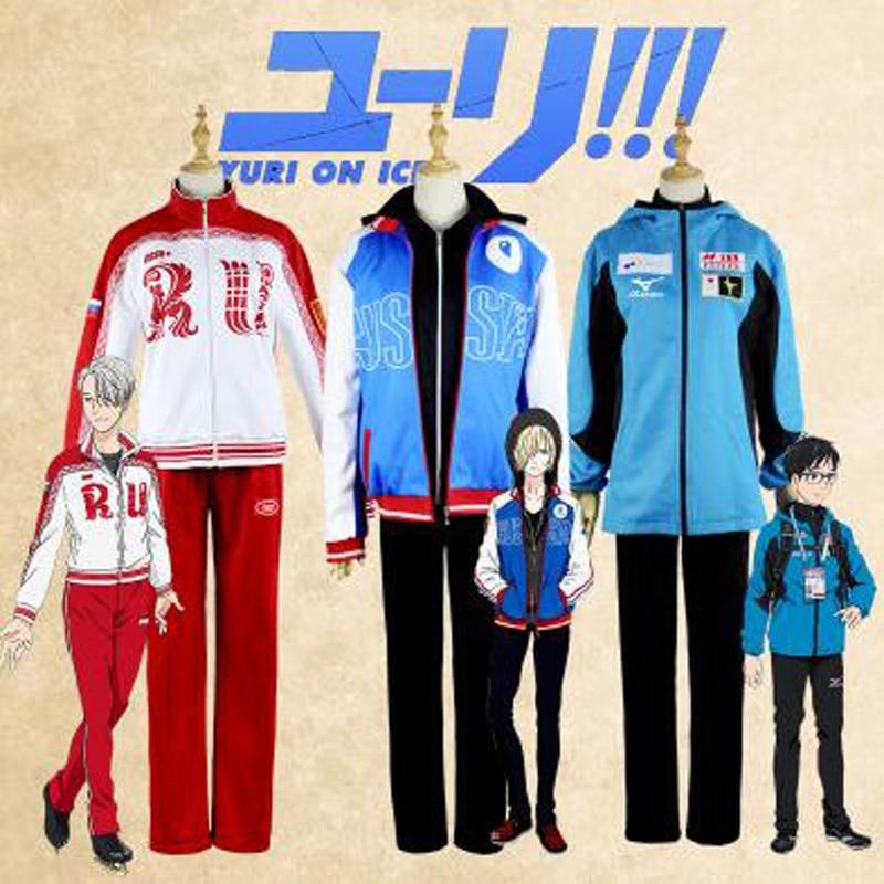 Anime YURI !!! On ICE Yuri Katsuki \ Victor Nikiforov \ Yuri Plisetsky Cosplay Costume Hight Quality Jackets Hoodie Pants