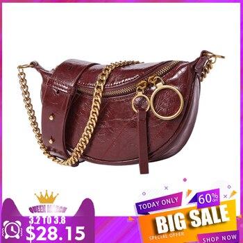 Luxury Brand Genuine Leather Real Cowhide Vintage Half Moon Saddle Woman Bag Fashion Purse and Handbag Lady Bosla Chest