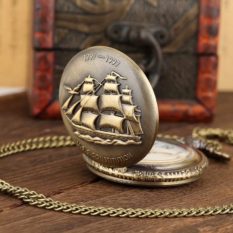 Bronze Sailing Canvas Boat Ship Quartz Pocket Watch FOB Sweater Chain Necklace Clock Pendant Vintage Watches Gifts For Women Men