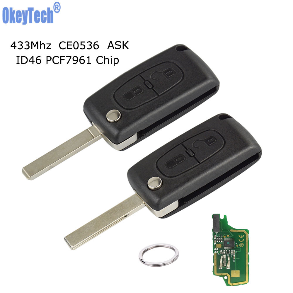 OkeyTech Remote Key for Citroen C4 C3 C5 Berlingo Picasso Peugeot Partner 307 407 HU83 VA2 Blade & Ring 433Mhz ID46 Chip CE0536 image