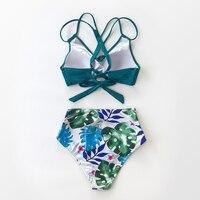 Bikini de cintura alta para mujer, traje de baño Sexy de dos piezas con estampado 8