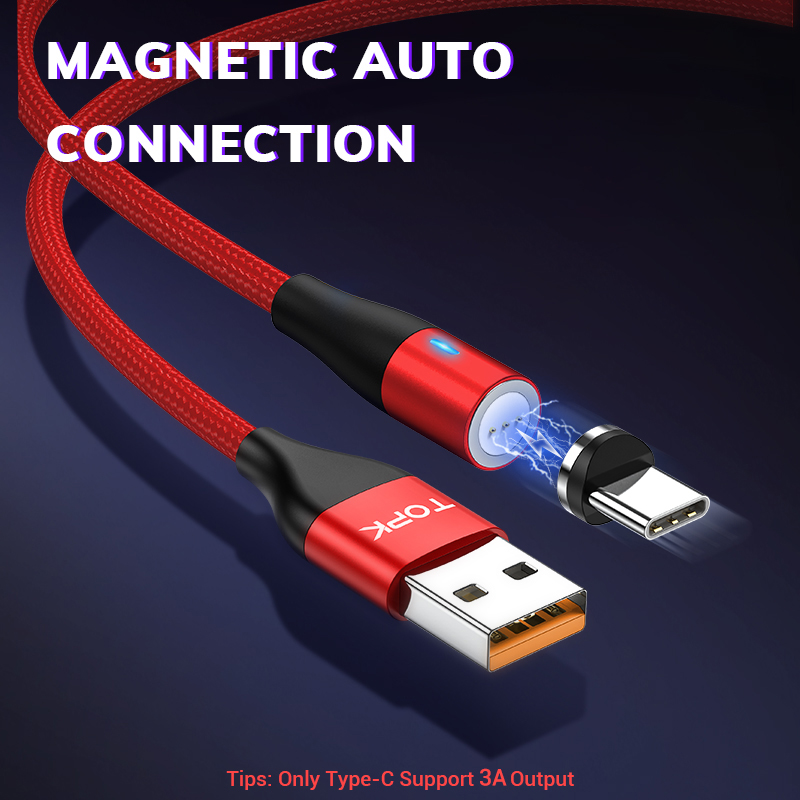 TOPK 1M 3A Magnetic USB Cable Fast Data Charging Cable for iPhone Xs Max Magnet Charger Micro USB Type C Cable for Samsung S10 in Mobile Phone Cables from Cellphones Telecommunications