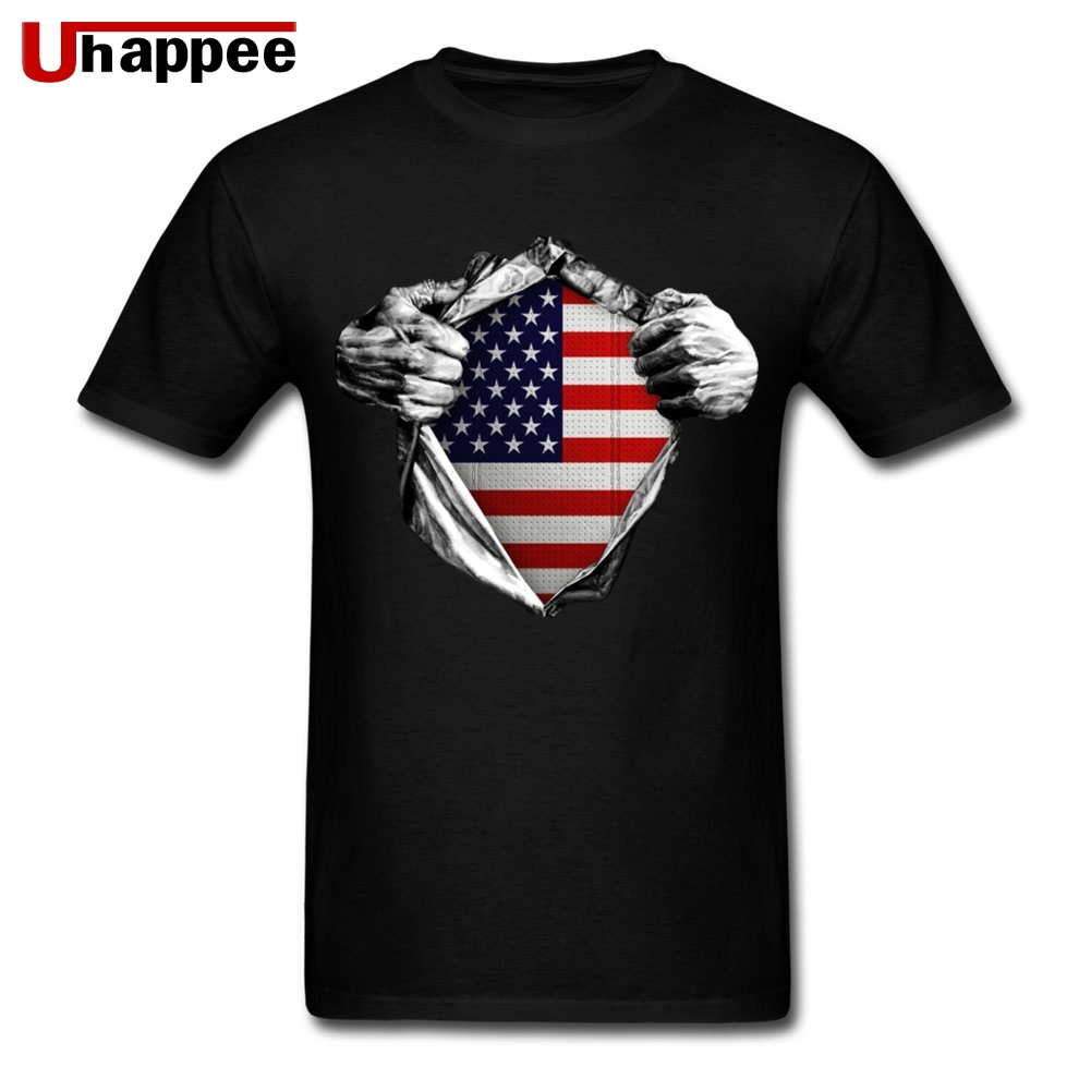 Branded Streetwear Tees America USA Flag Inside me Men's Best Fitted Short Sleeves Basic T-Shirts Mans Plus Size image