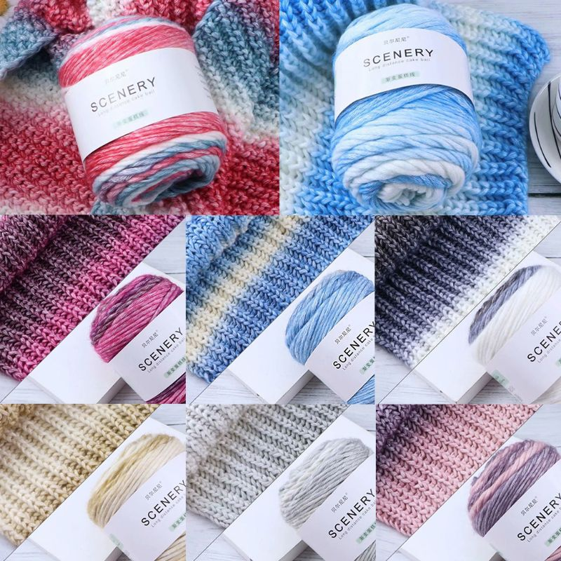 100g Hand Knitting Cake Yarn Gradient Ombre Colorful Crochet Woven DIY Thread