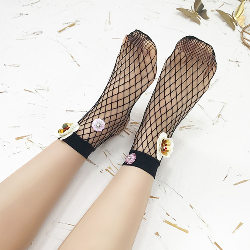 women socks harajuku New Ultra-thin Fishing Net Socks New arrival Sequins Short Perspective socks calcetines meias Lace 51*